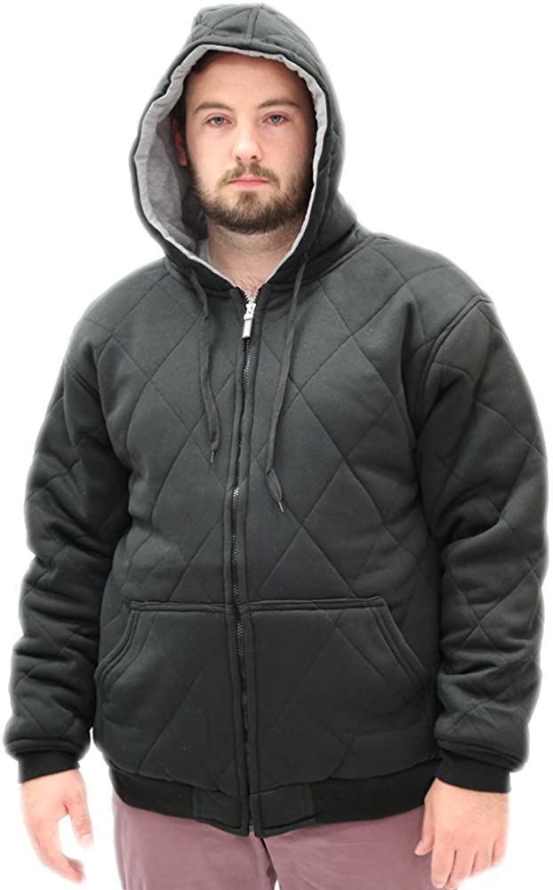 Woodland Supply Co. Men's Quilted Fleece Thermal Hoodie Jacket