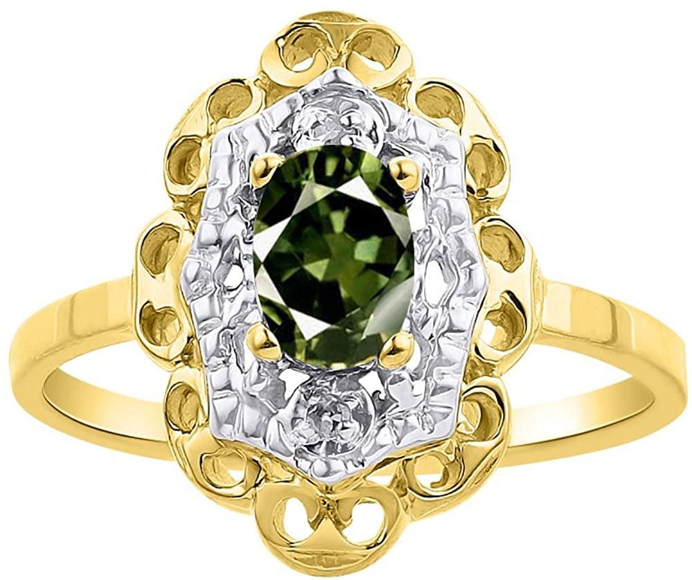 Diamond & Green Sapphire Ring Set In 14K Yellow Gold Diamond Halo