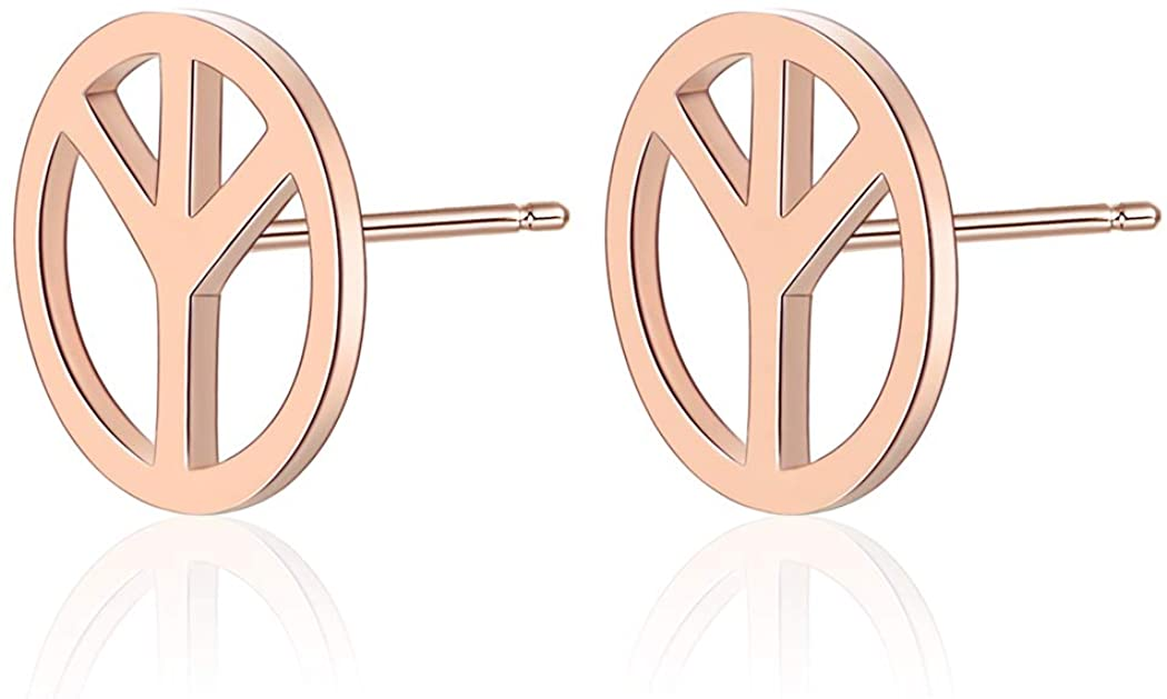 Peace Sign Stud Earrings Stainless Steel Open Round Unisex Post Small Sign Earrings Anti-War Jewelry Christmas Gifts for Women Men