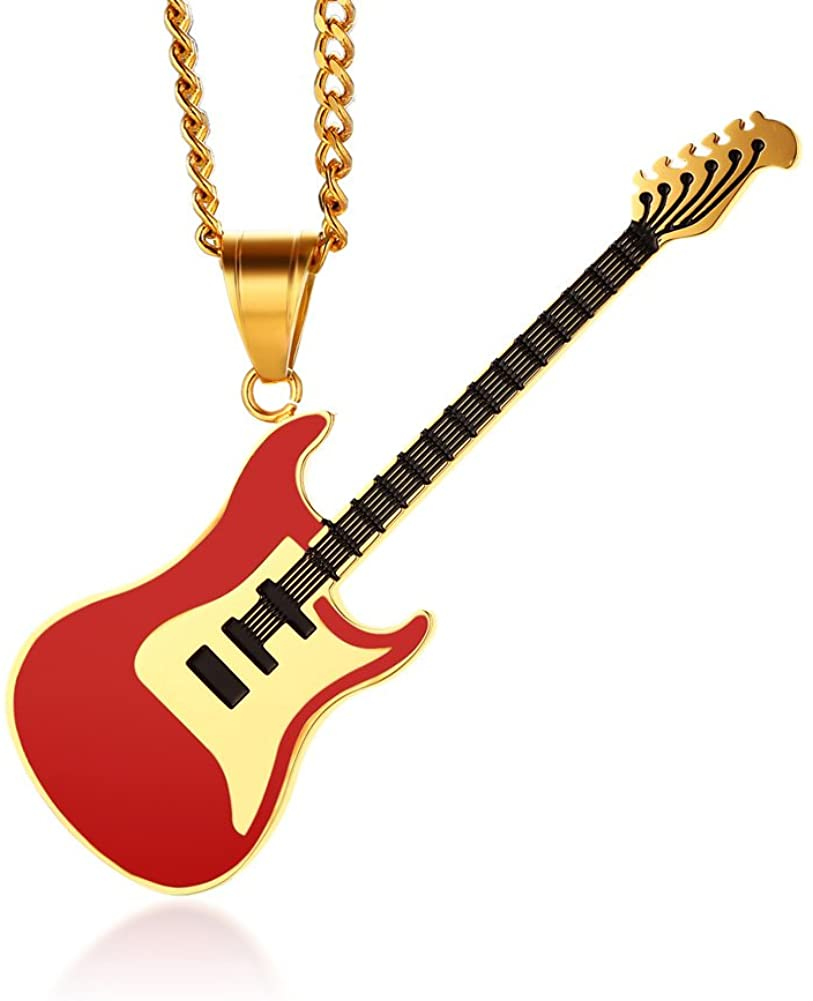 MPRAINBOW Guitar Music Player Stainless Steel Lover Pendant Necklace Jazz Jewelry for Men Women