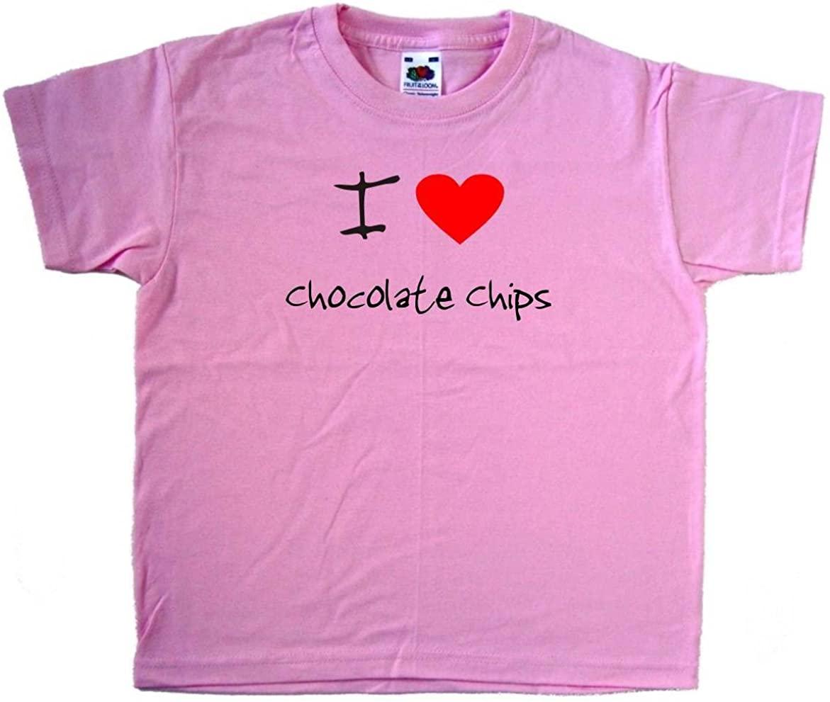I Love Heart Chocolate Chips Pink Kids T-Shirt