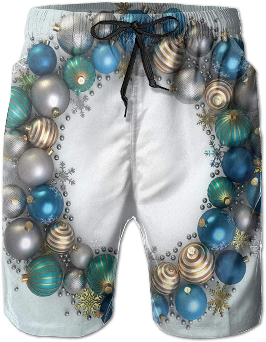 Men's Swim Trunks Quick Dry Beach Shorts Vivid Xmas Balls Featured Circle Wreath Traditional Ancient Festive Display L