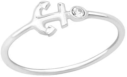 Caratera Anchor Jeweled Rings 925 Sterling Silver Nb of Crystal Stones: 1
