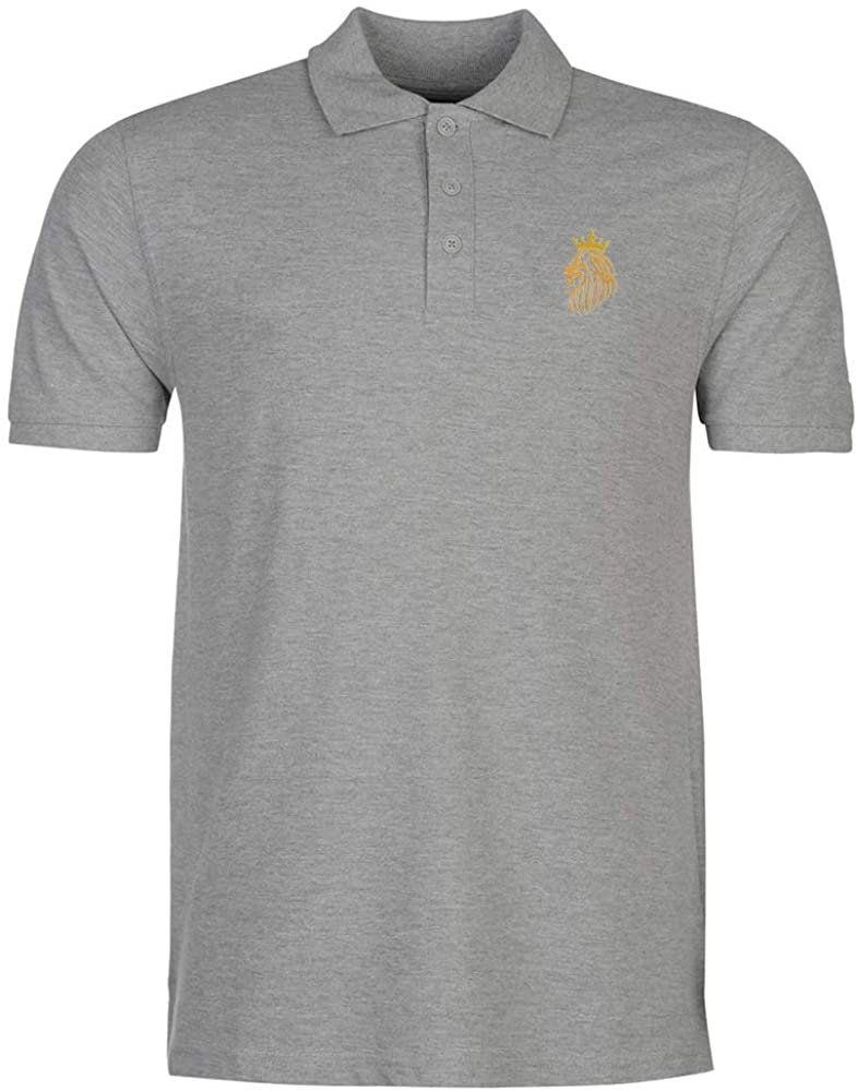 Mens Lion in The Crown Embroidery Embroidered Polo Shirts Men Shirts
