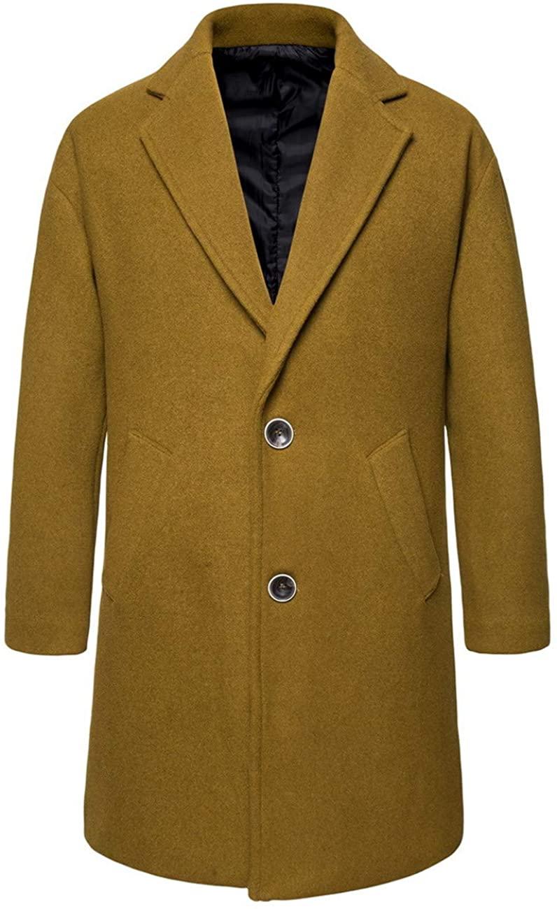 Men's Mid-Length Slim Fit Single-Breasted Lapel Winter Jacket Windproof Wool Coat