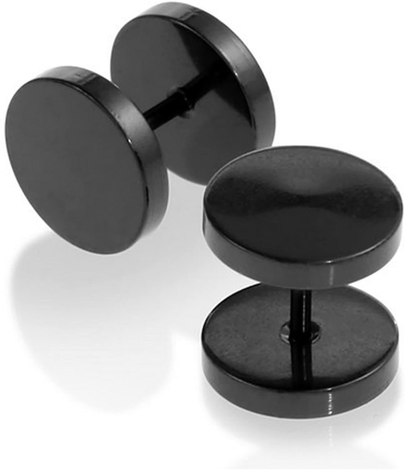 yantu Womens and Mens Black Stainless Steel Illusion Tunnel Plugs Earrings Unisex Cheater Faux Fake Ear Plugs Gauges Barbells 2pcs