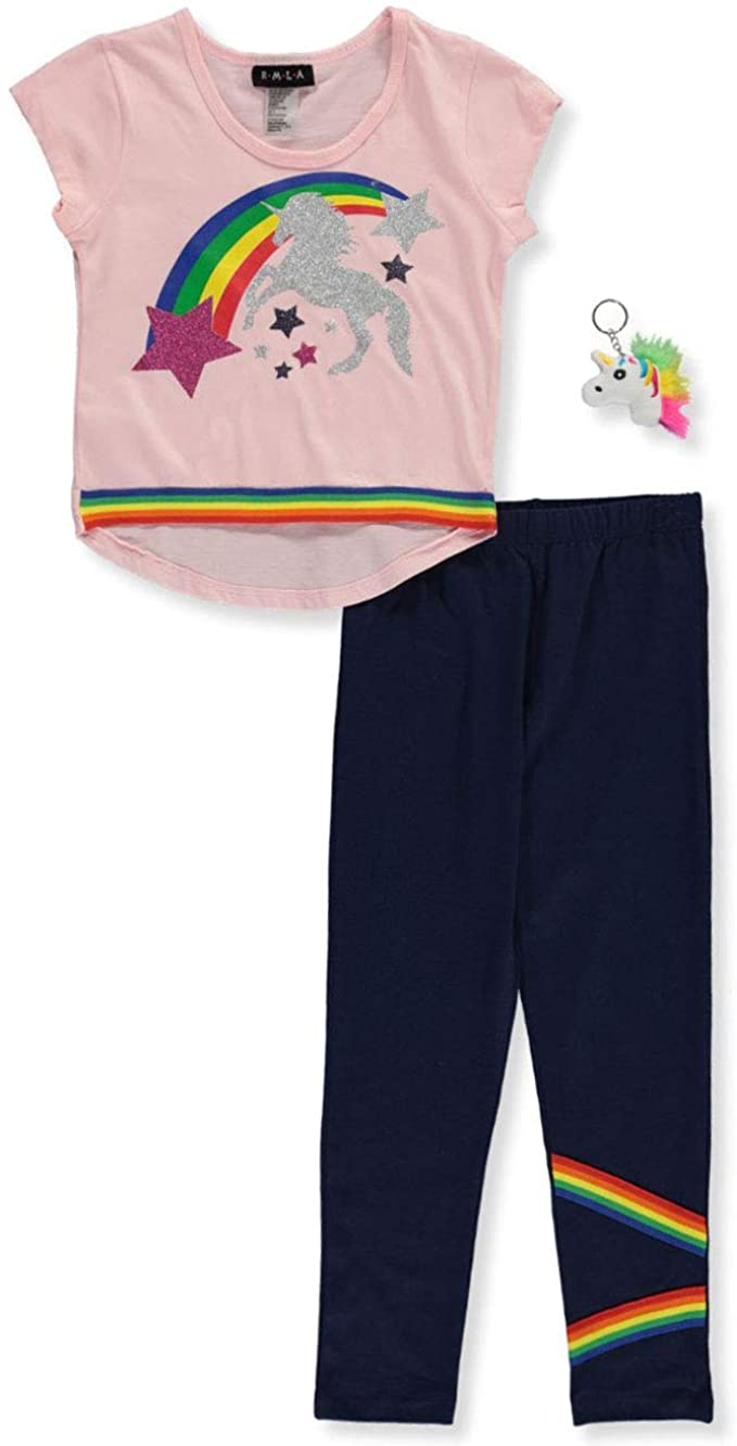 RMLA Girls Glitter Unicorn 2-Piece Leggings Set Outfit with Keychain