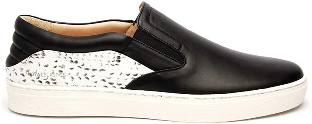 ROYAL ELASTICS Mens Ketella Black Gray Leather Loafers