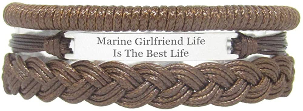 Miiras Family Engraved Handmade Bracelet - Marine Girlfriend Life is The Best Life - Brown - Made of Braided Rope and Stainless Steel - Gift for Marine Girlfriend