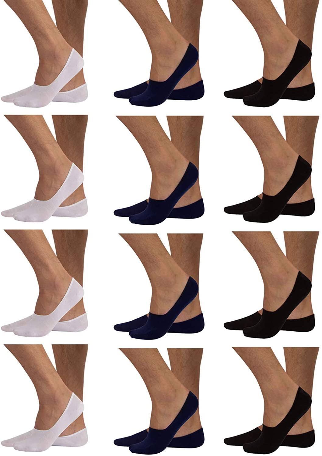 12 PAIRS LINER COTTON SOCKS NON SLIP | MEN'S CASUAL NO SHOW INVISIBLE SOCKS | ITALIAN HOSIERY