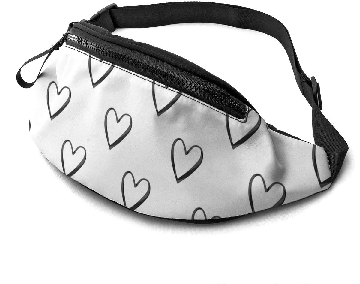 Black Watercolor Heart Outlines on White Fanny Pack for Men Women Waist Pack Bag with Headphone Jack and Zipper Pockets Adjustable Straps