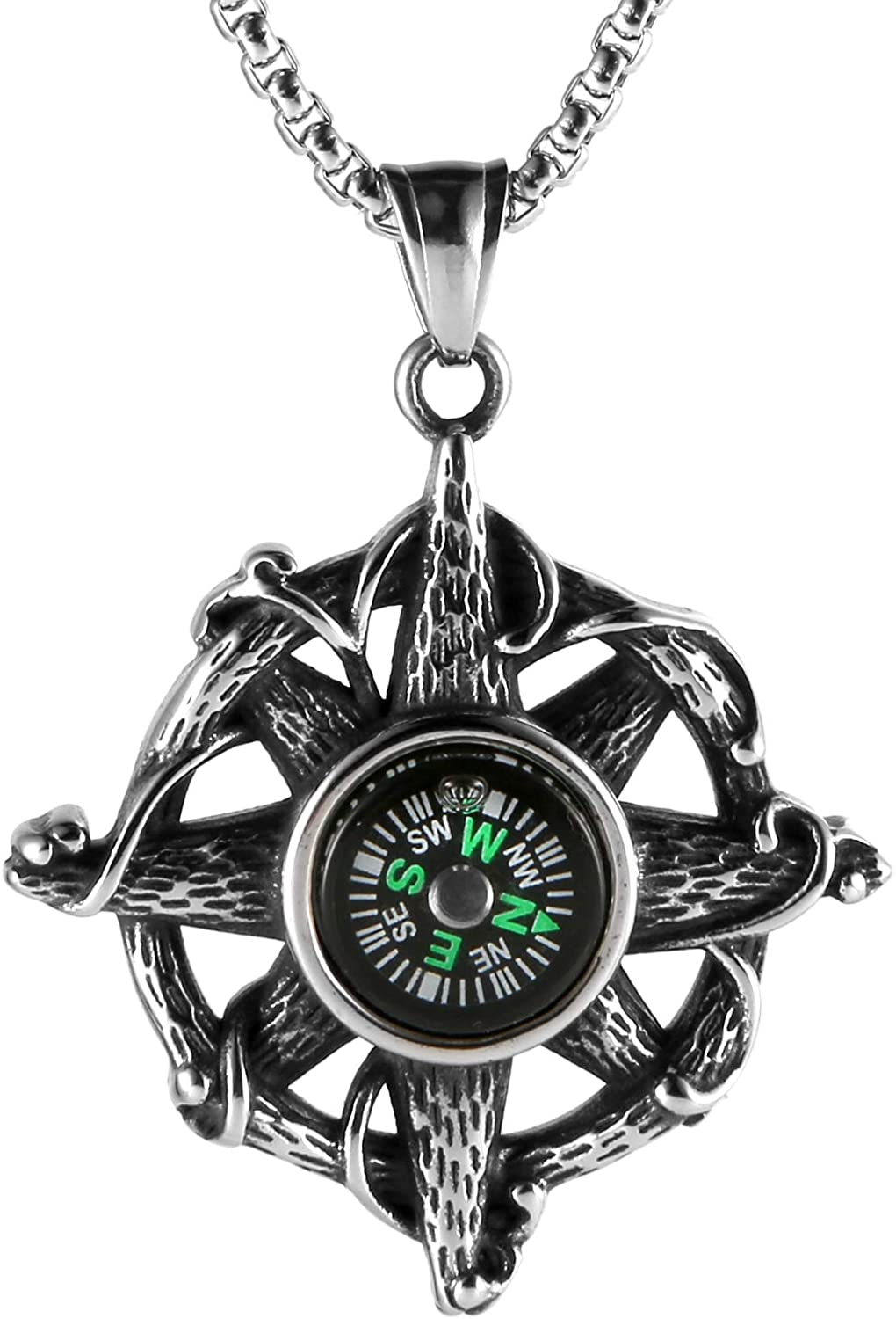 HZMAN Compass Stainless Steel Necklace Find Your Way Back Vintage Nautical Graduation Charm Pendant