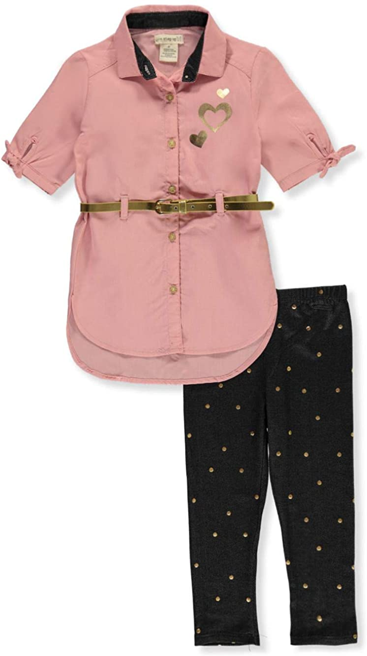 One Step Up Girls' Belted Heart 2-Piece Leggings Set Outfit