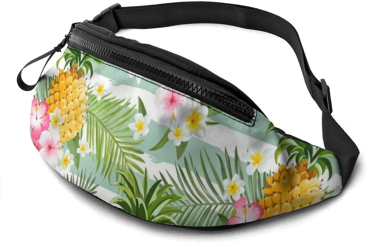 Tropical Pineapple And Hawaiian Flowers Fanny Pack For Men Women Waist Pack Bag With Headphone Jack And Zipper Pockets Adjustable Straps