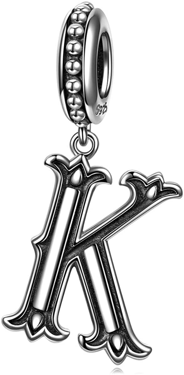 NINAQUEEN Letter Charm Bracelets Charms Gifts 925 Sterling Silver Initial A-Z Alphabet Beads Roman Vintage Dangle Charms Fit for Bracelet and Necklace Gifts for Lover