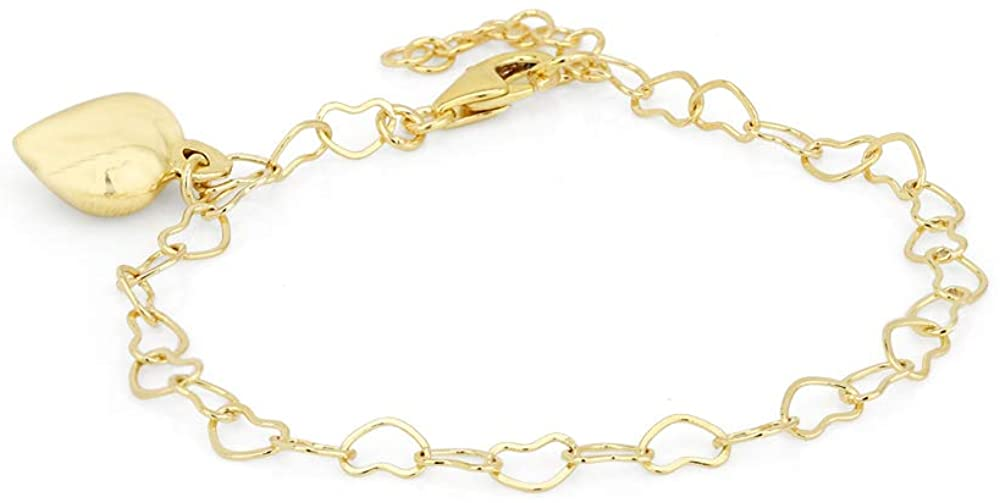 Vanbelle 18K Gold Plated Jewelry Sewn Open Heart Bracelet with Hanging Puffed Heart Charm for Women and Girls