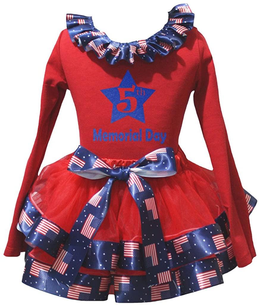 Petitebella 5th Memorial Day L/s Shirt US Flag Blue Red Petal Skirt Set Nb-8y