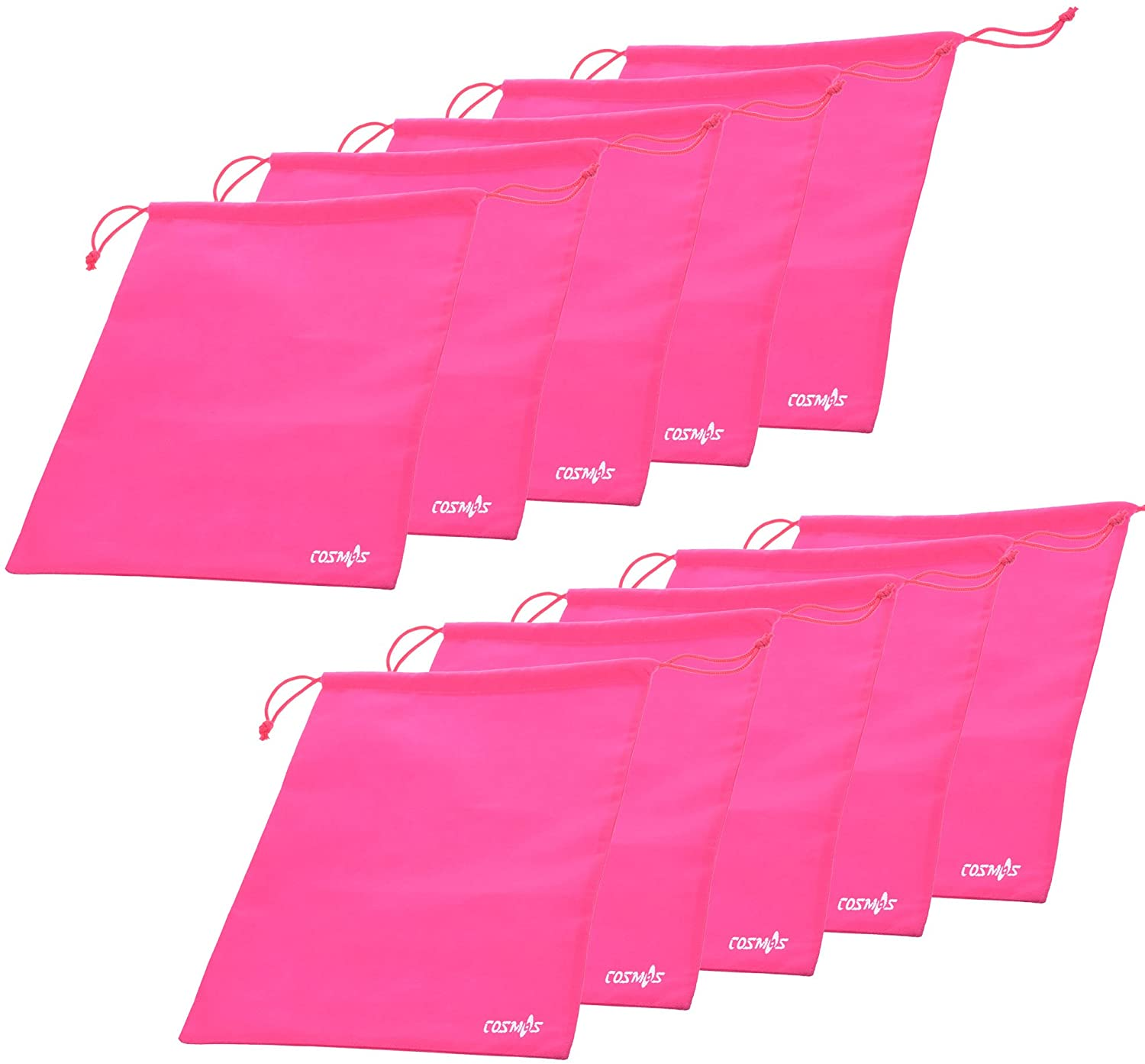 Cosmos 10 Pcs Women's Hot Pink Non-Woven Drawstring Shoe Bags for Travel Carrying, 13-3/4 x 11 Inches
