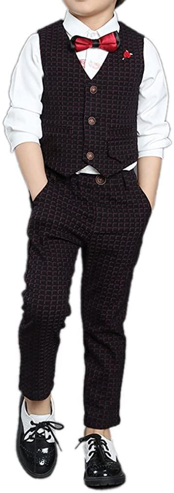 Boys Black and Red 2 Colors Houndstooth Suits Vest Set 2 Pieces Vest and Pants Suit Set