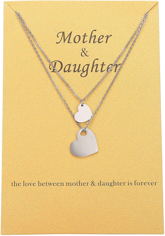 Gudukt Pendant Heart Mother Daughter Necklace Set for 2 in Silver