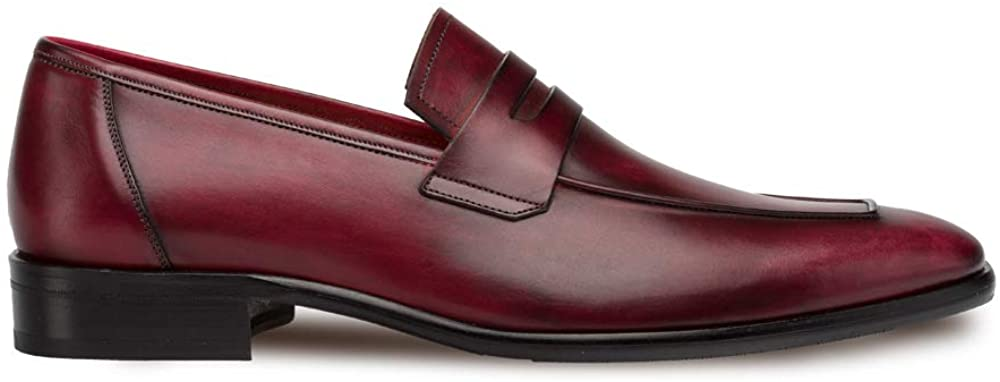 Mezlan Newport - Mens Luxury Penny Loafer Featuring Hand Finishes - Smooth European Calfskin Loafer - Handcrafted in Spain - Medium Width (Burgundy, 11.5)