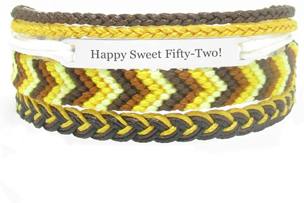 Miiras Birthday Engraved Handmade Bracelet - Happy Sweet Fifty-Two! - Yellow - Gift for Women, Girls, Friends, Mothers, Daughters, Aunts who are Fifty-Two Years Old