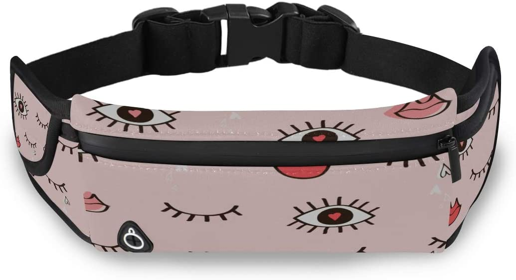Cartoon Big Eye Fashion Style Running Fanny Packs For Women Travel Zipper Bags Waist Pack For Running With Adjustable Strap For Workout Traveling Running
