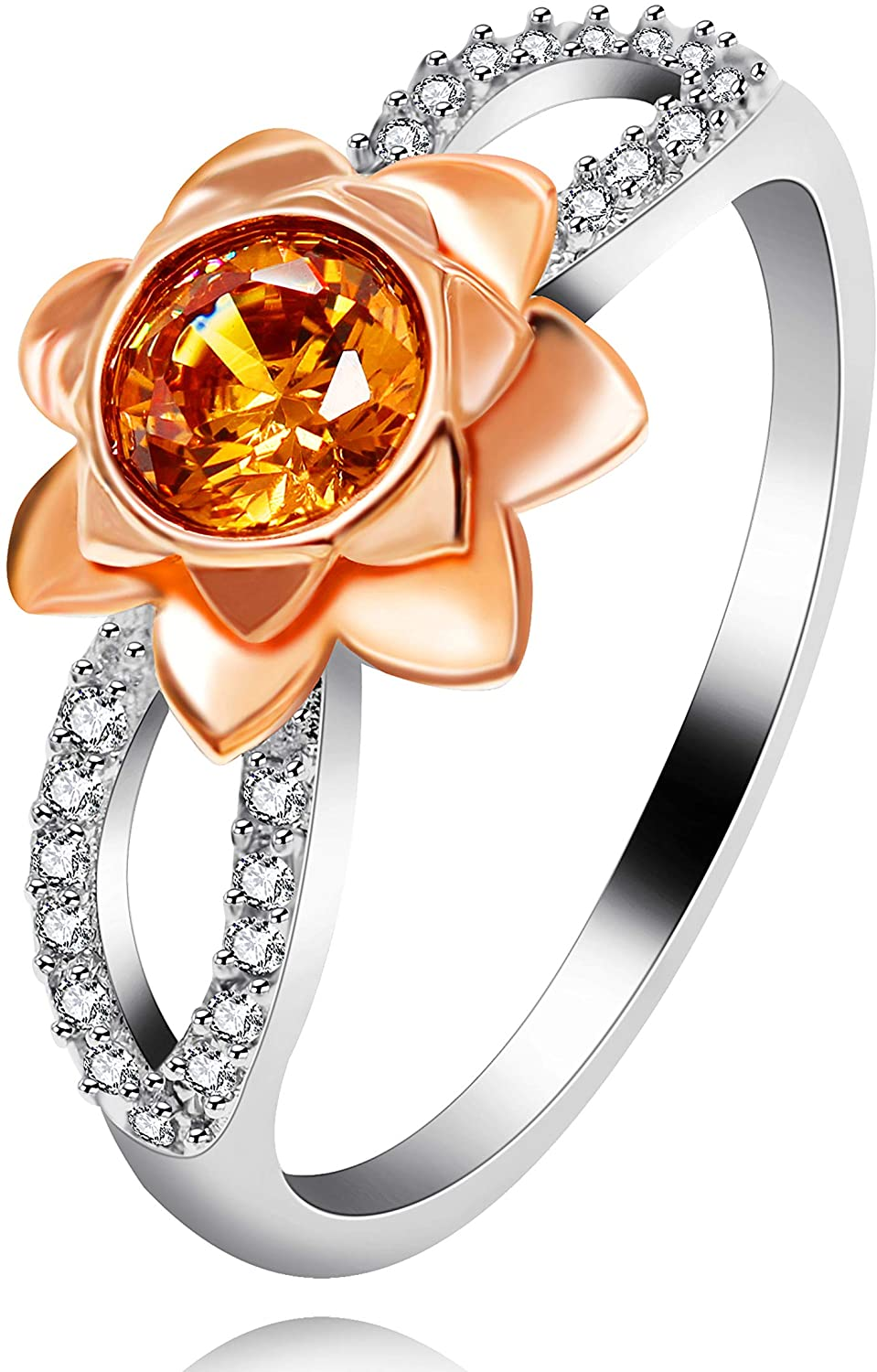 14K Rose Flower Ring Two Tones Infinity Floral Wedding Ring with Round Cut Simulated Orange Diamond Y812