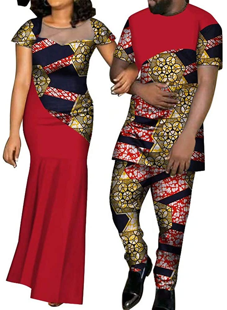 XIAOHUAGUA African Dashiki Summer Party Couples Clothes Big Yarn Dress and Colorful Shirts Pants