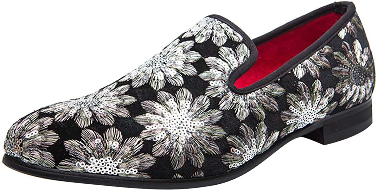 Loafers Mens Slip-on Velvet Retro Embroidery Glitter Sequin Dress Party Shoes