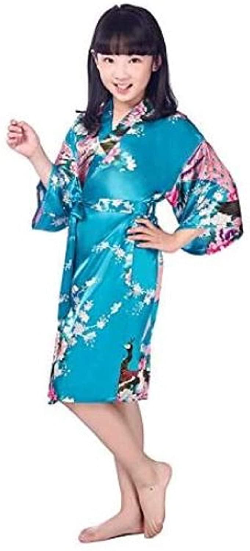 Japanese Pajamas for Girls Kimono Traditional Print Peacock Thin Loose Night Gown Kids Japan Style Robes (Lite Blue)