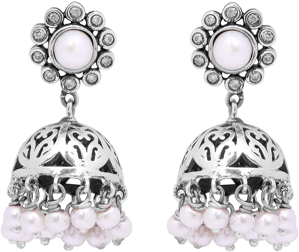 Shine Jewel Indian Traditional Pearl 925 Sterling Silver Jhumka Earring Jewelry