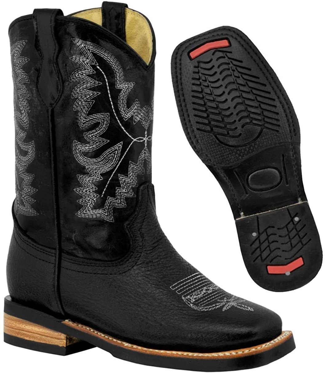 Kids Black Western Cowboy Boots Rodeo Leather Square Toe 12 Toddler