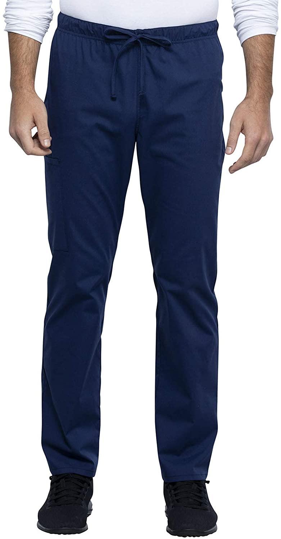 CHEROKEE Workwear WW Professionals Unisex Unisex Straight Leg Drawstring Pant, WW030, M, Navy