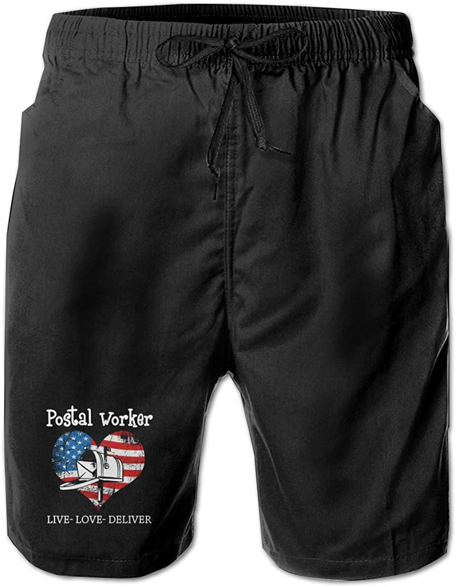 Postal Worker US Flag Men Summer Beach Shorts,Casual Shorts Beach Shorts Fit Performance Shorts