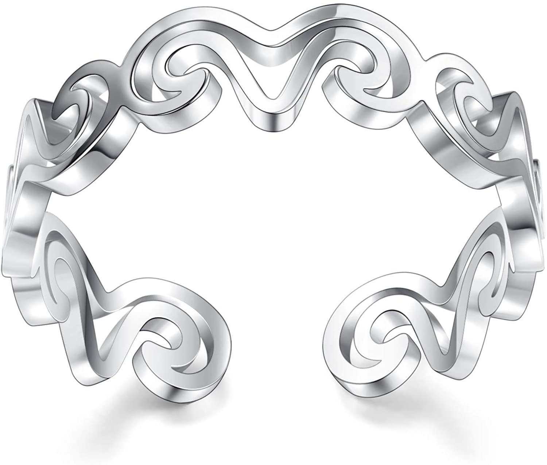 VGstudio Fashion Unique Sheep Hollow Ring Animal Wave High Polish Adjustable Open Ring, Titanium Steel, Silver