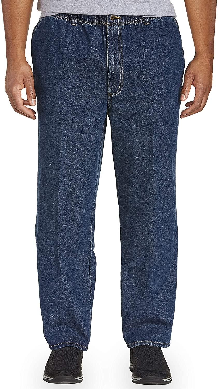 Harbor Bay by DXL Big and Tall Full Elastic-Waist Jeans - Updated Fit, Dark Stonewash, 5X Waist/28 Inseam