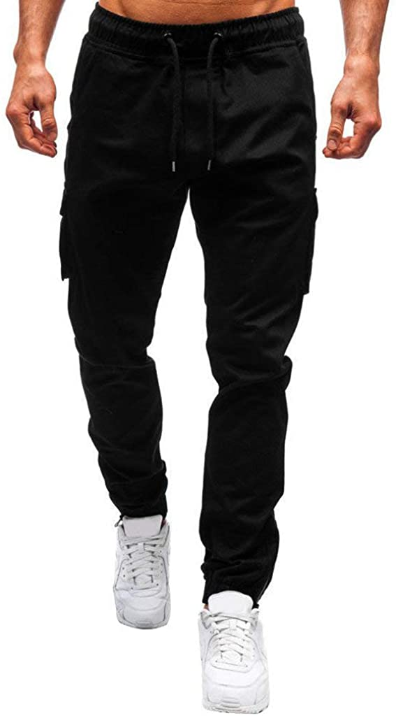 Daopwlkom Men's Slim-fit Jogger Pants Drawstring Multi-Pockets Sports Trousers Training Fitness Long Pants Sweatpants