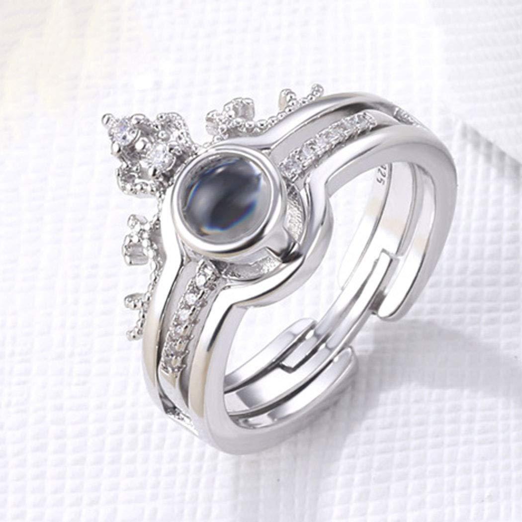 Casdre Boho Crystal Ring Silver Rings Set Crown Finger Rings Knuckle Ring for Women and Girls(Pack of 2)