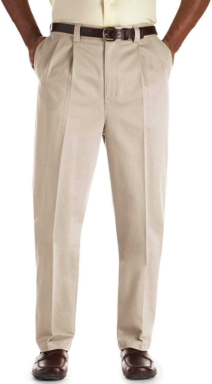 Oak Hill by DXL Big and Tall Pleated Premium Stretch Twill Pants, Khaki, 52R 30