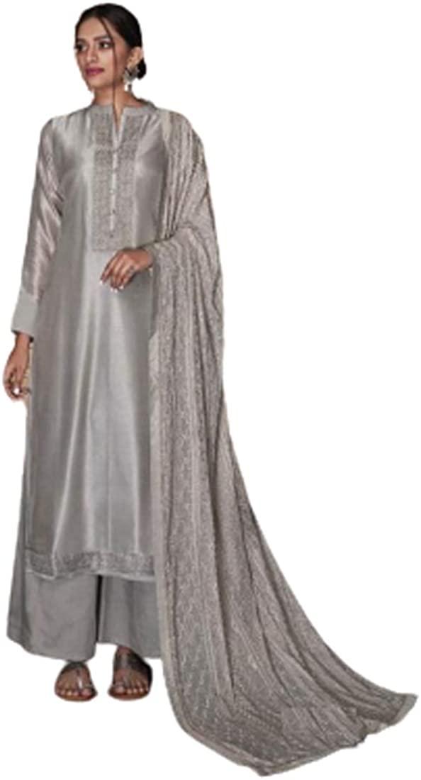 Grey Resham Silk Indian Party Punjabi Pajami Salwar Kameez Embroidery Festival Muslim Dress 4101B