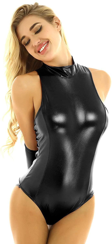 JEATHA Womens Shiny Metallic Back with Armbinder Glove Thong Leotard Bodysuit Teddy Lingerie Nightwear