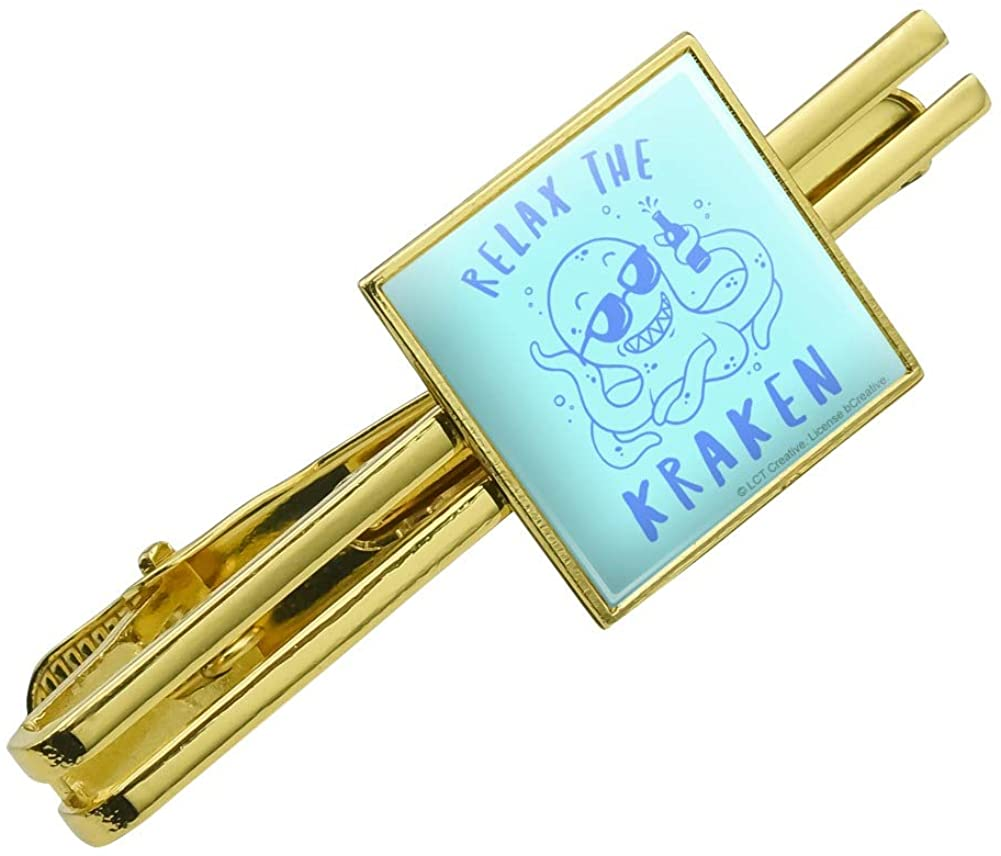 GRAPHICS & MORE Relax The Kraken Funny Humor Square Tie Bar Clip Clasp Tack- Silver or Gold