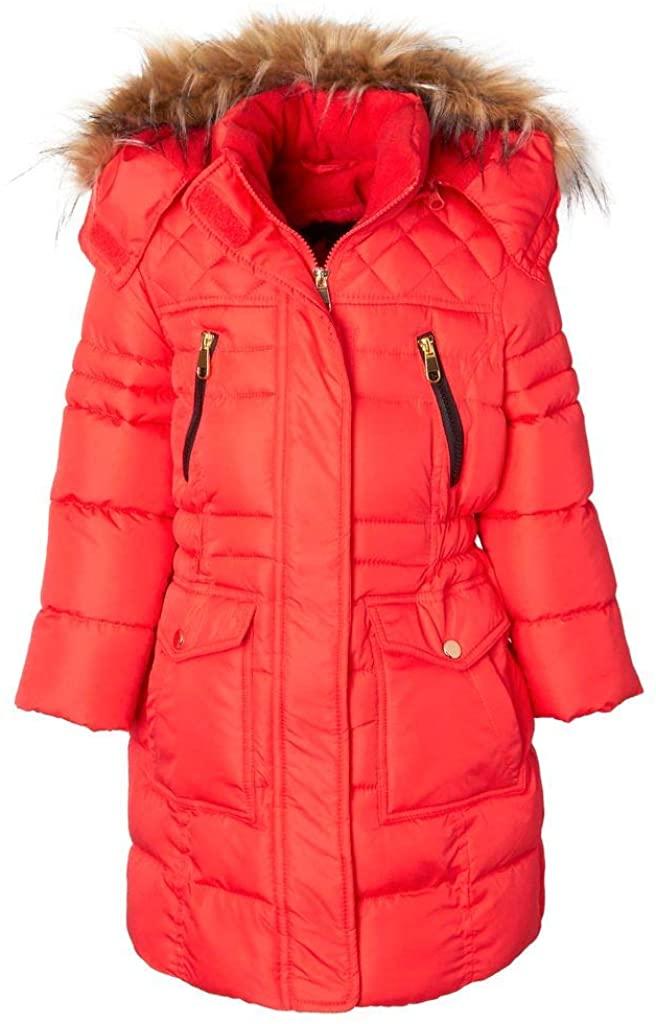 Sportoli Girls' Heavy Quilt Long Fleece Lined Padded Puffer Coat with Fleece Lined Detachable Hood