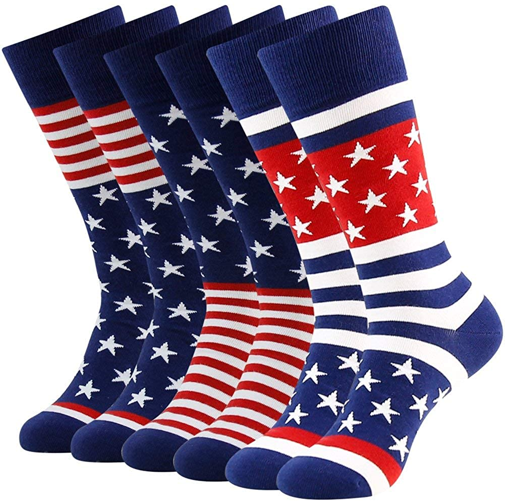 American Flag Fun Dress Socks for Men,Bonangel Cotton Novelty Crew Socks,Groomsmen Gift Socks 2/4/6 Pairs