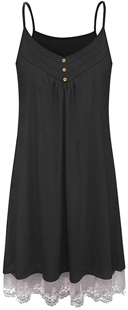TWGONE Lace Hem Tunic Tops for Women Sleeveless Suspender V Neck Button Up Camis Tank Dress