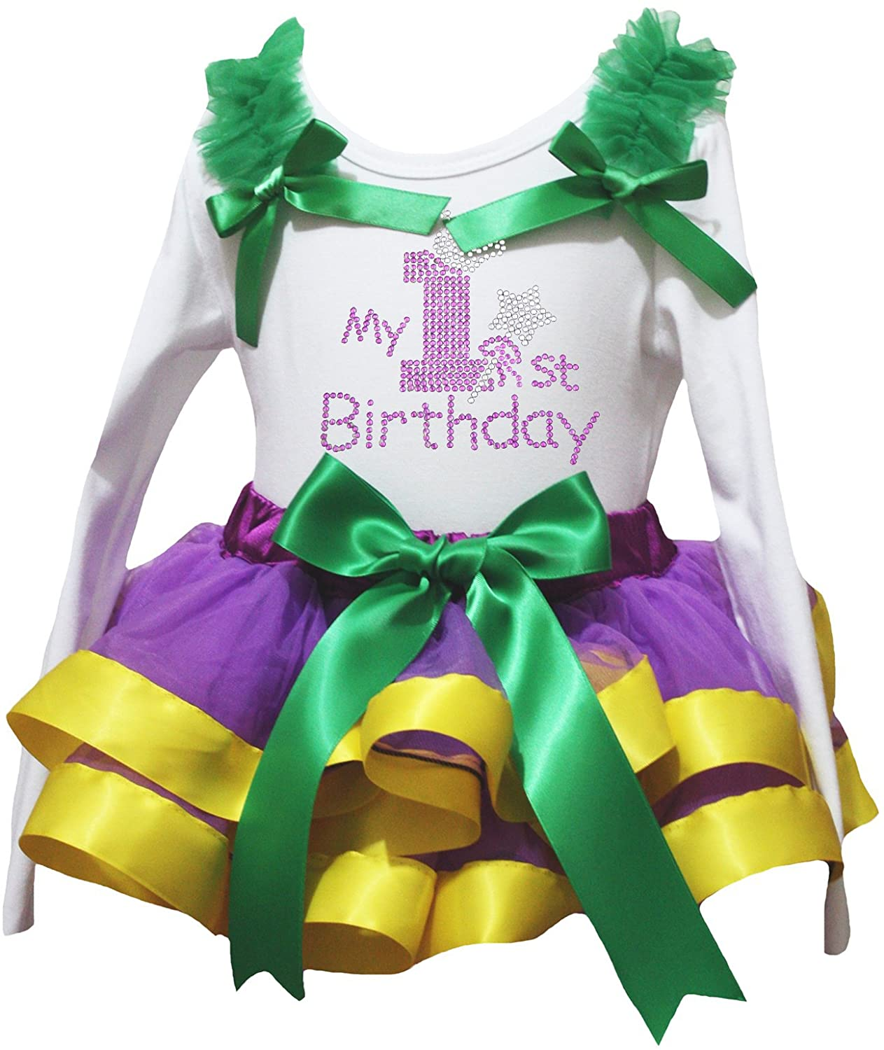 Petitebella My 1st Birthday White L/s Shirt Purple Yellow Petal Skirt Nb-8y