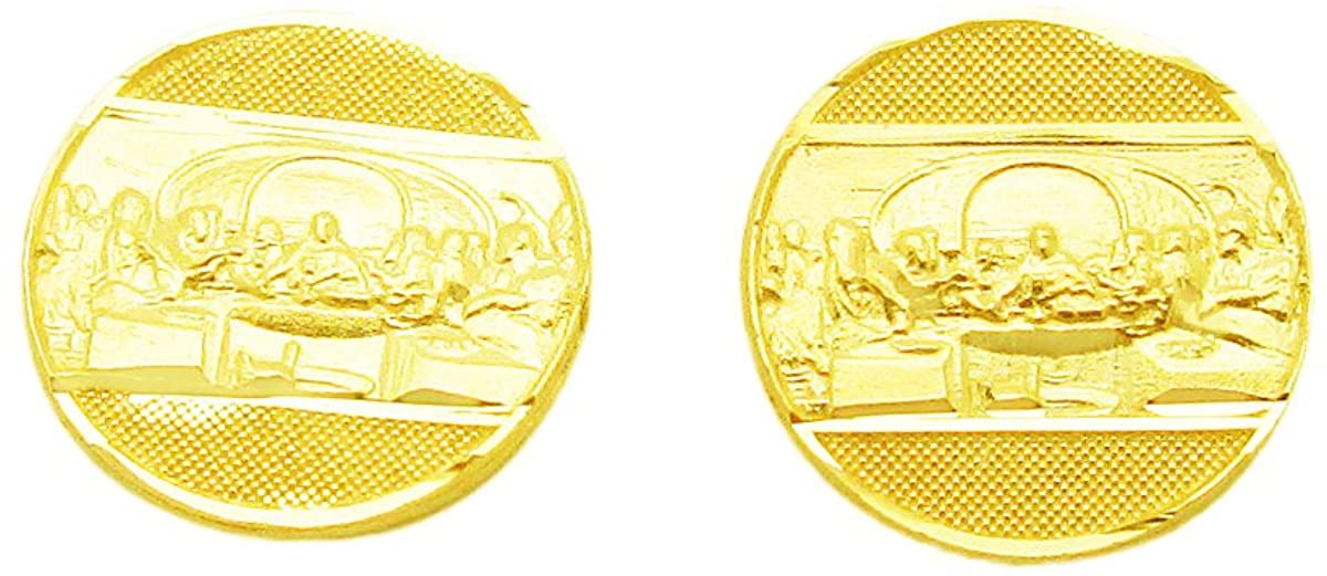 10K Yellow Gold Mens Gold Last Supper Earrings 0.4 inch