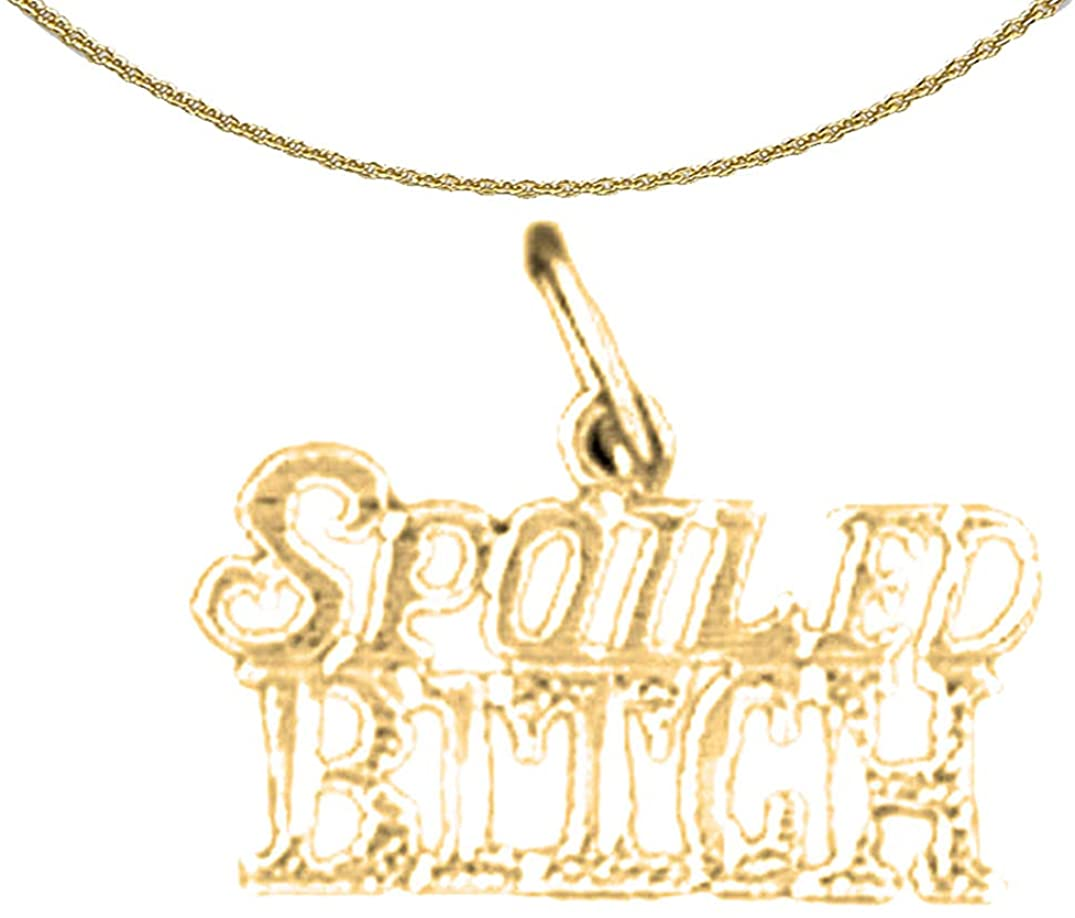 Jewels Obsession 14K Yellow Gold Spoiled Bitch Saying Pendant with 16