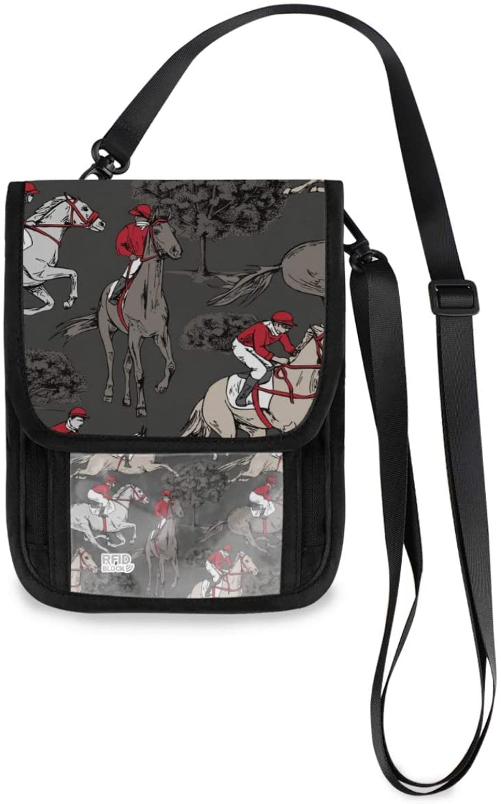 Travel Pouch Wallet Neck - Riders Horse Passport Holder with RFID Blocking for Woman Man Travel Document Holder